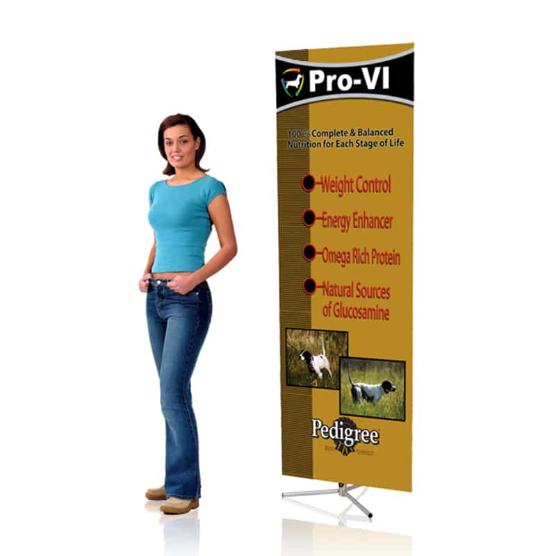 sprint banner stand with graphic and woman standing next to it for scale