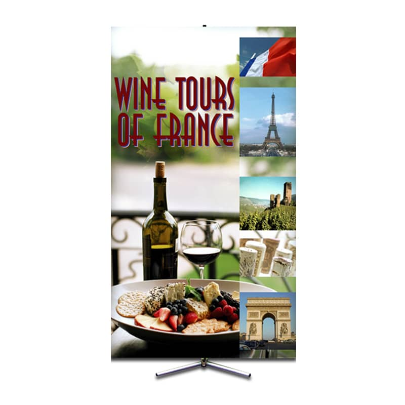 large sprint banner stand with travel images