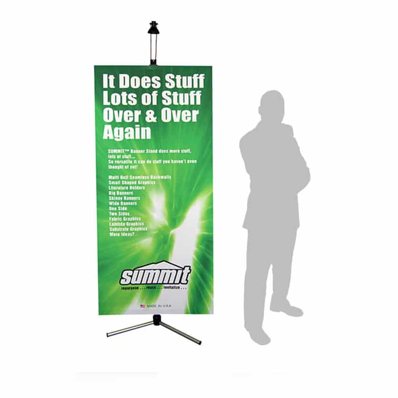 green summit banner stand display with a person's silhouette for scale