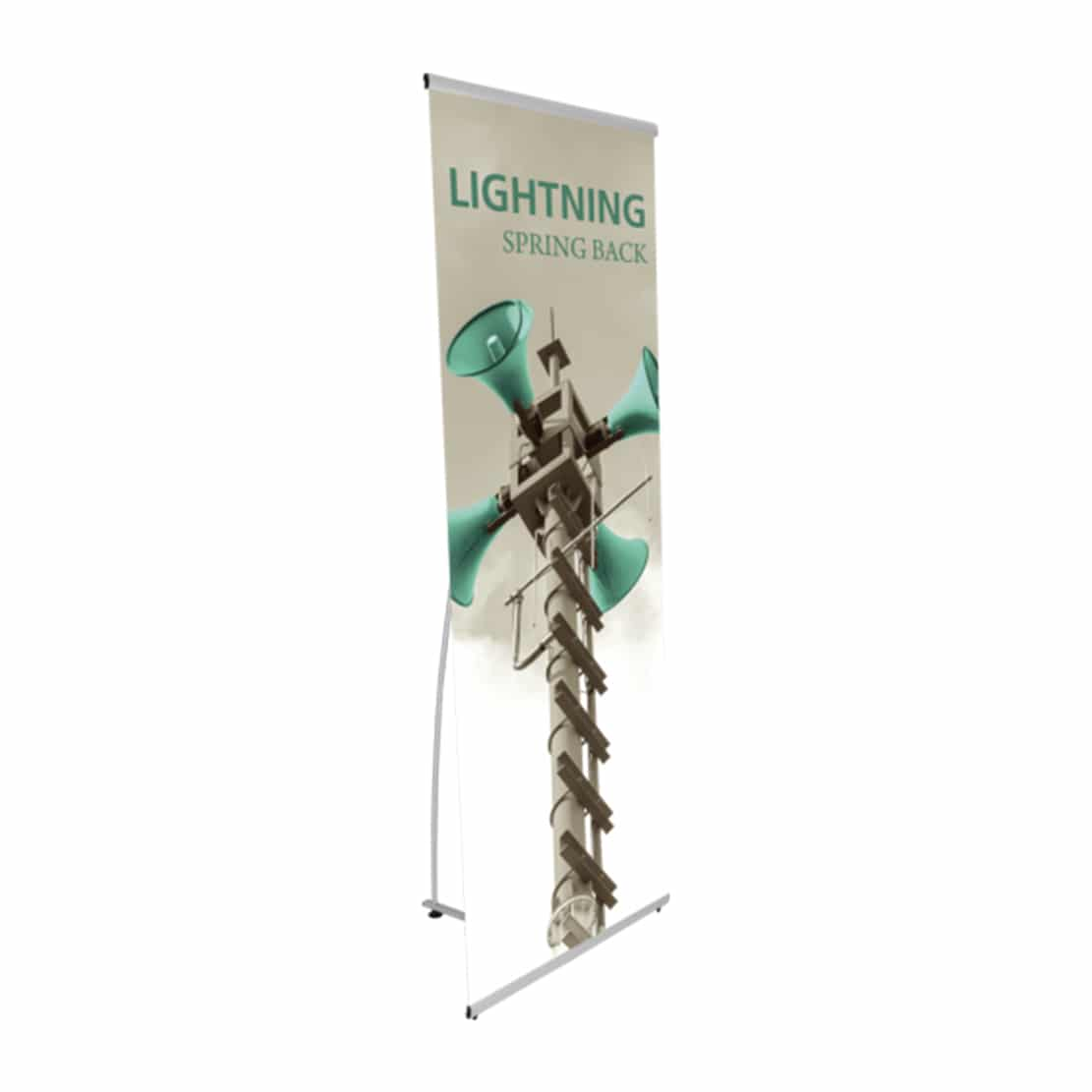 lightning banner stand display quarter view with graphic