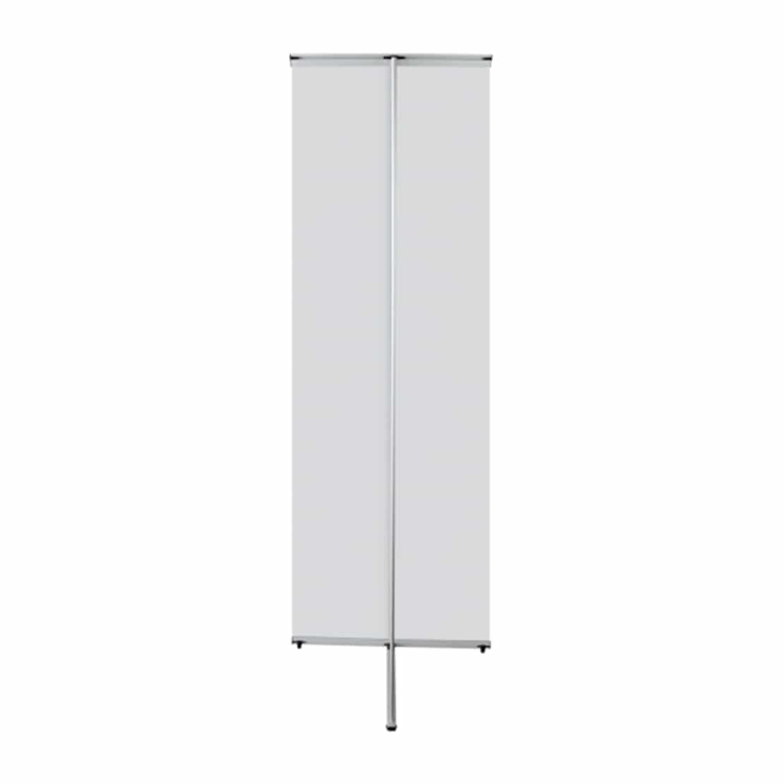 lightning banner stand display backside view with pole and graphics bars
