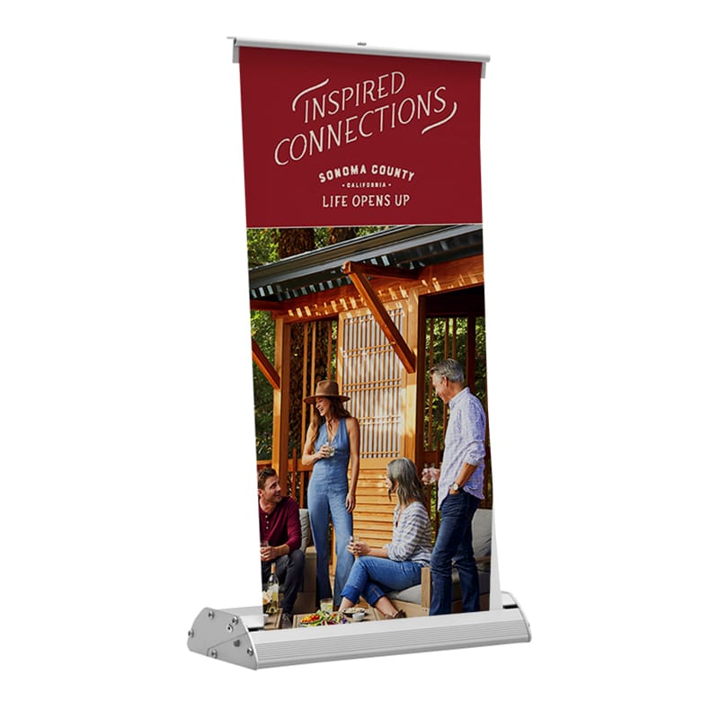 alternate front view of deluxe mini table-top banner stand with image