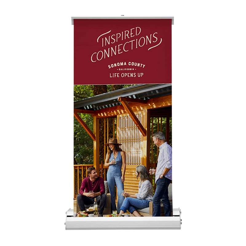 deluxe mini table-top banner stand with image