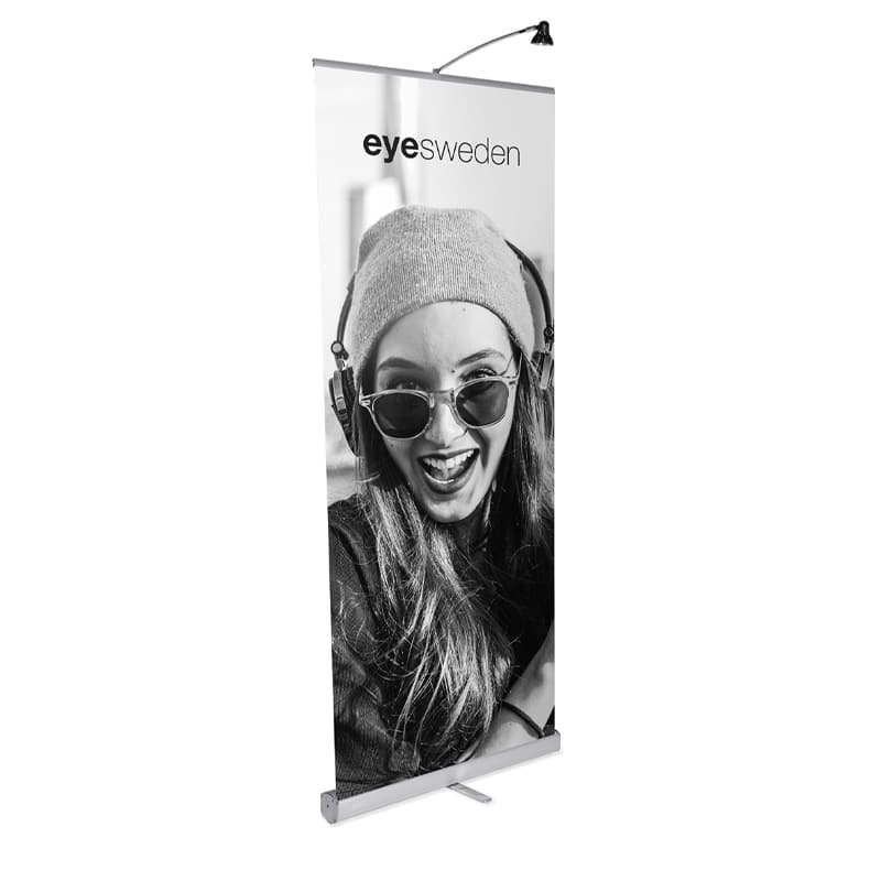 media screen 1 banner stand display front-left view with light