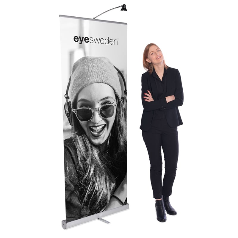 model beside standing media screen 1 banner stand display with light