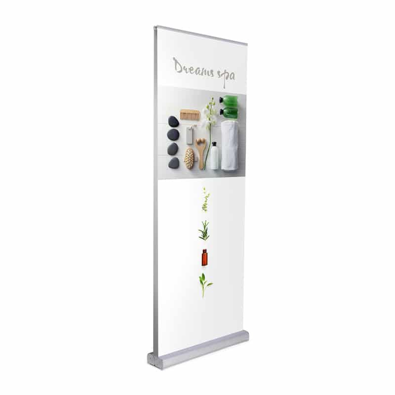 media screen 2 double-sided banner stand display standing, front left view