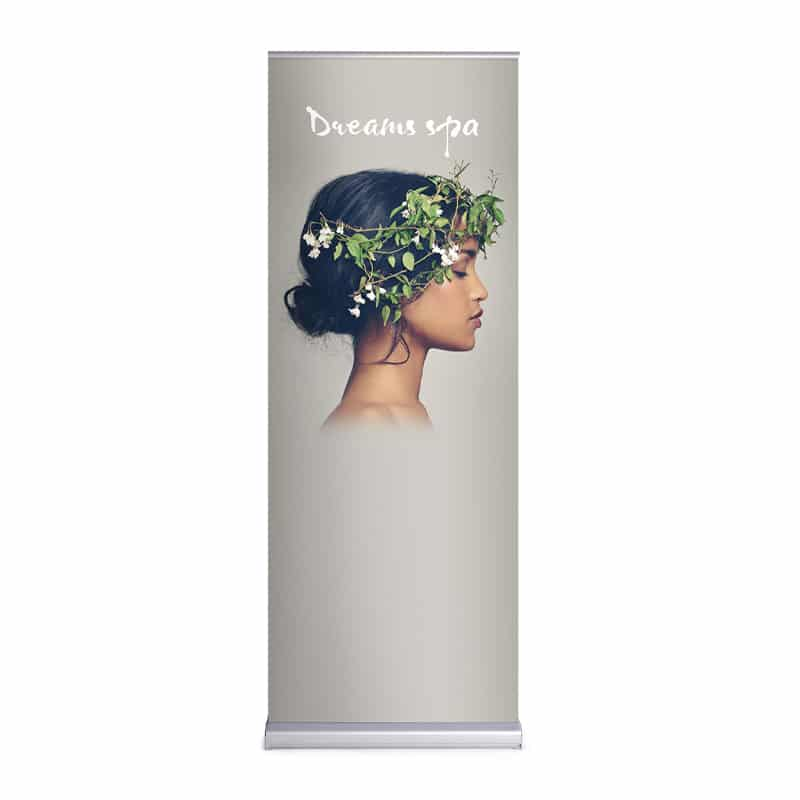 media screen 2 double-sided banner stand display standing, front view