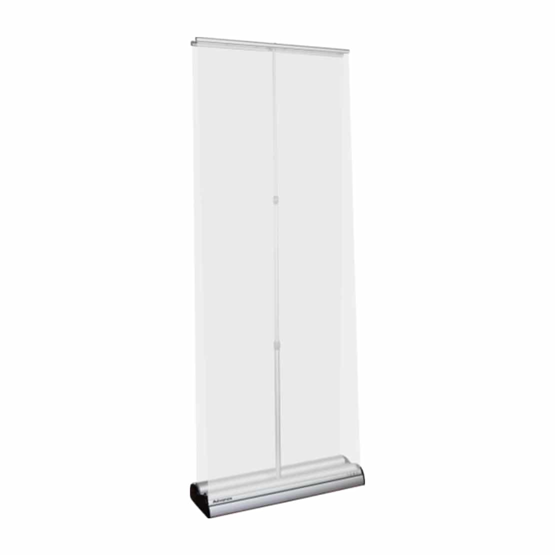 advance double-sided banner stand silver showing pole and both top bars