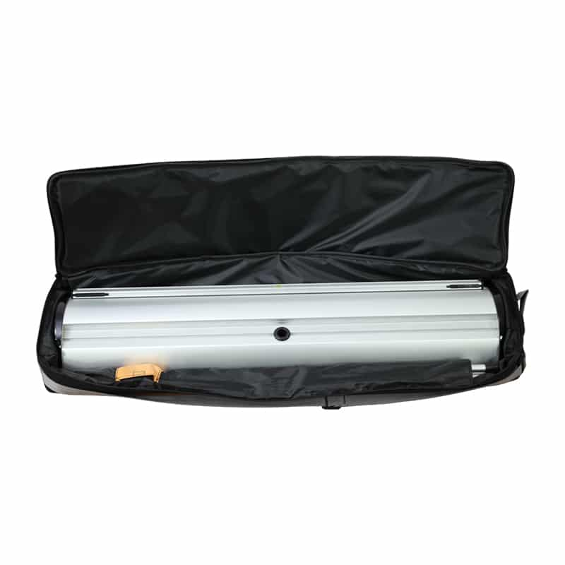 barracuda banner stand hardware in open black carry bag