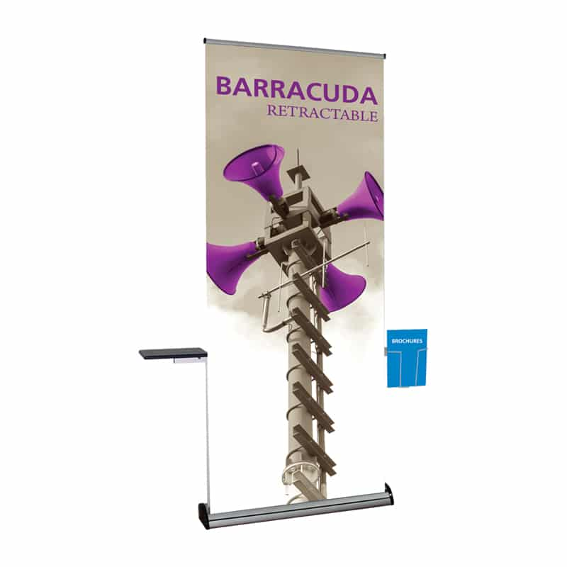 banner stand accessory kit shelf and brochure rack attached to display