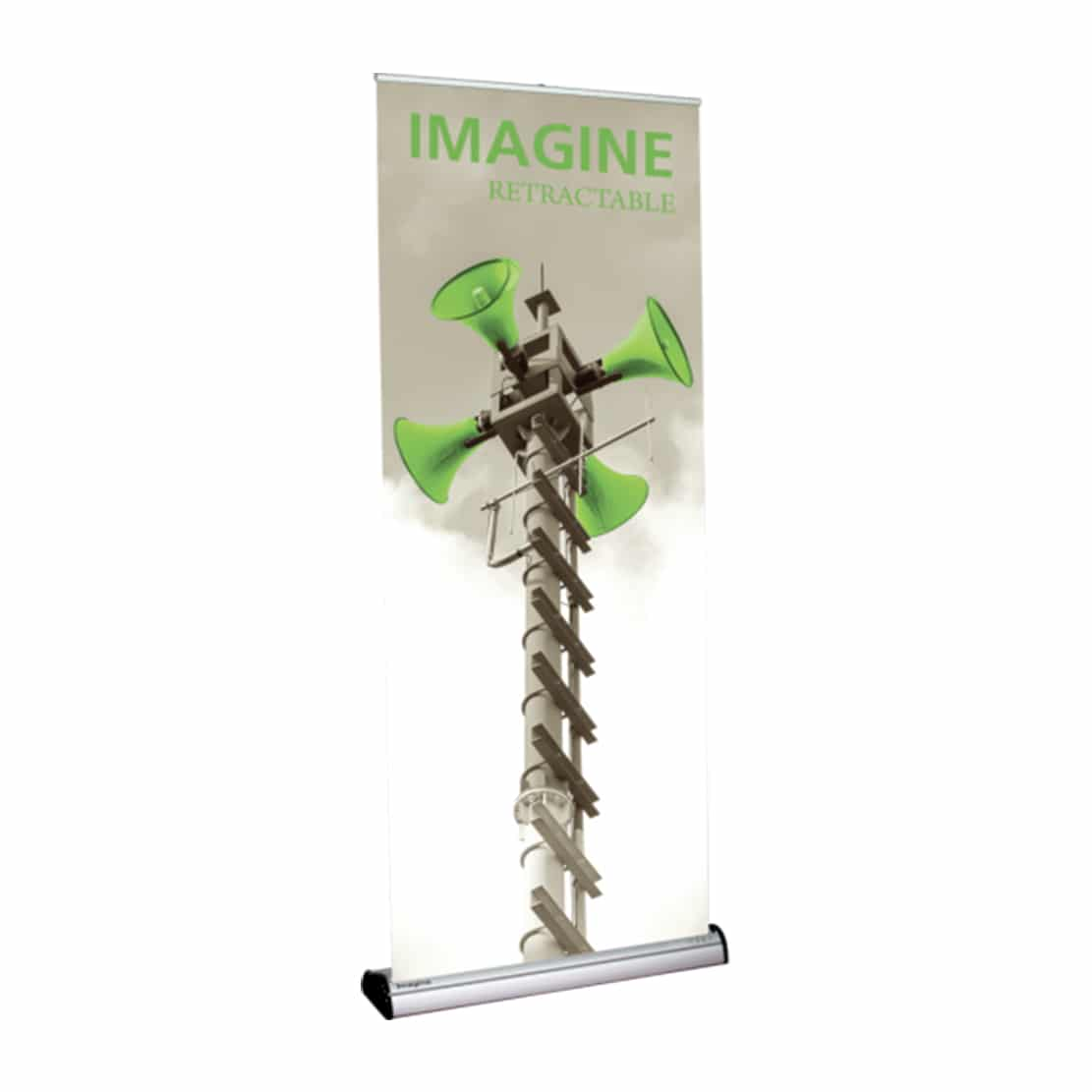 standing imagine banner stand display front view with graphic