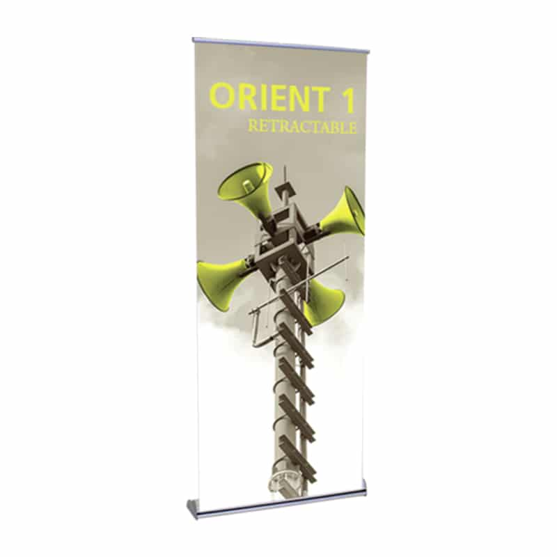 orient banner stand front-left view with graphic
