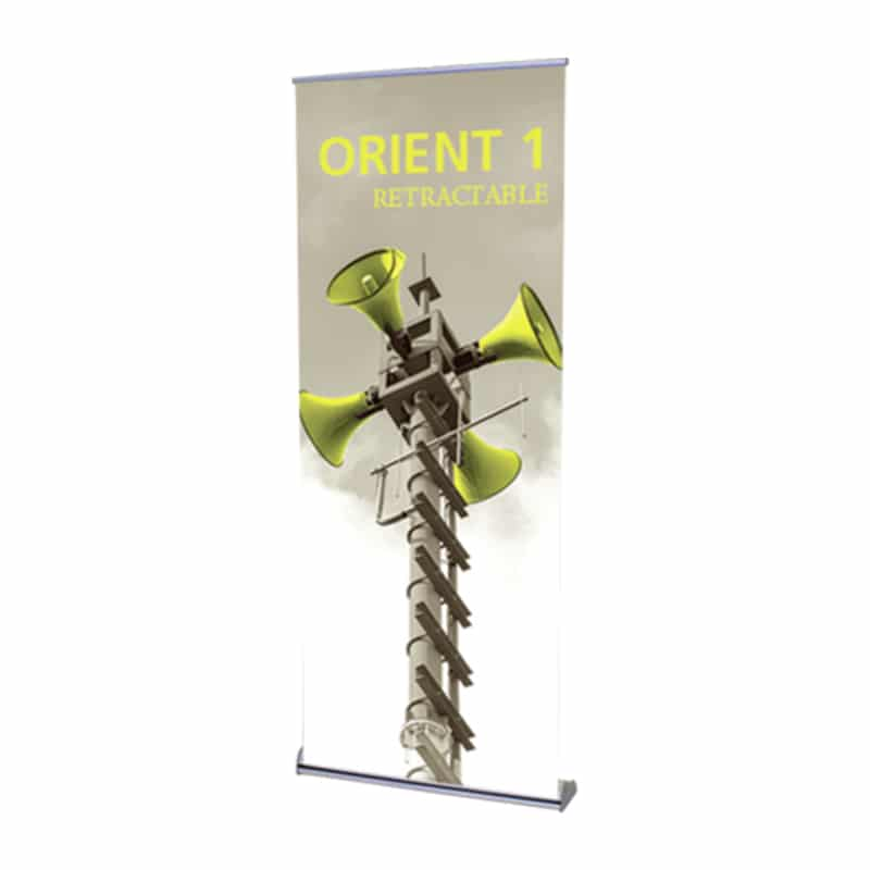 orient banner stand front-right view with graphic