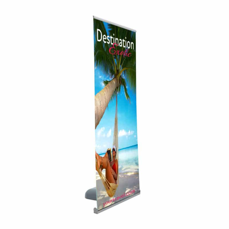 Outdoor Banner Stand with single-sided graphic and wheeled base