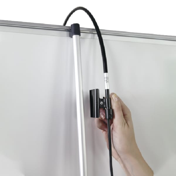 LED banner stand arm light accessory showing pole clip