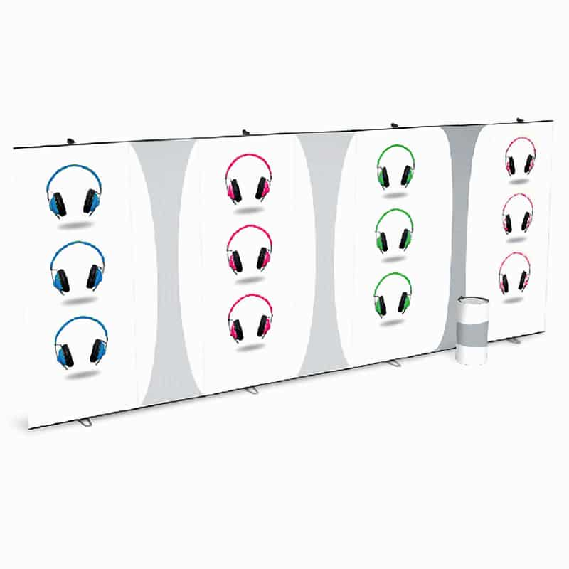 several link up banner stands together creating single wall