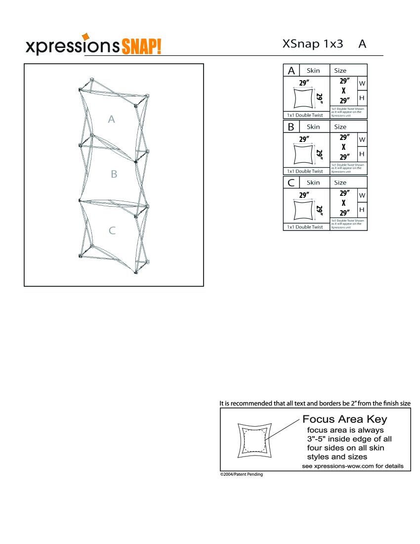 1x3 tower XSnap pop-up display kit a style sheet
