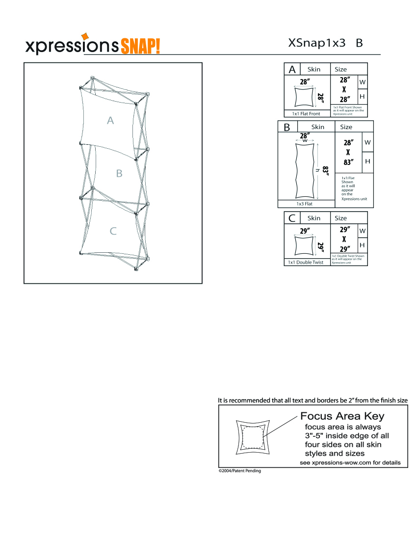 1x3 tower XSnap pop-up display kit b style sheet