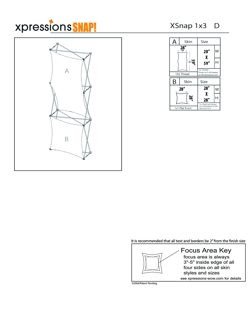 1x3 tower XSnap pop-up display kit d style sheet