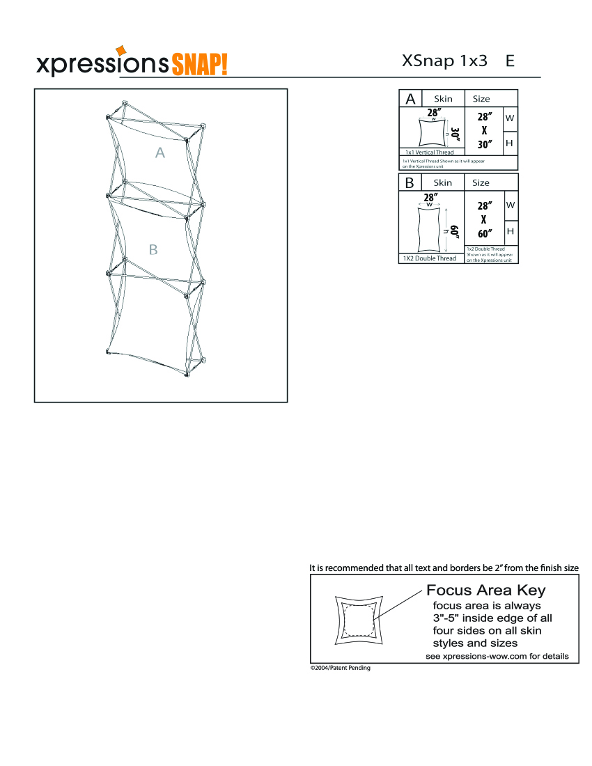 1x3 tower XSnap pop-up display kit e style sheet