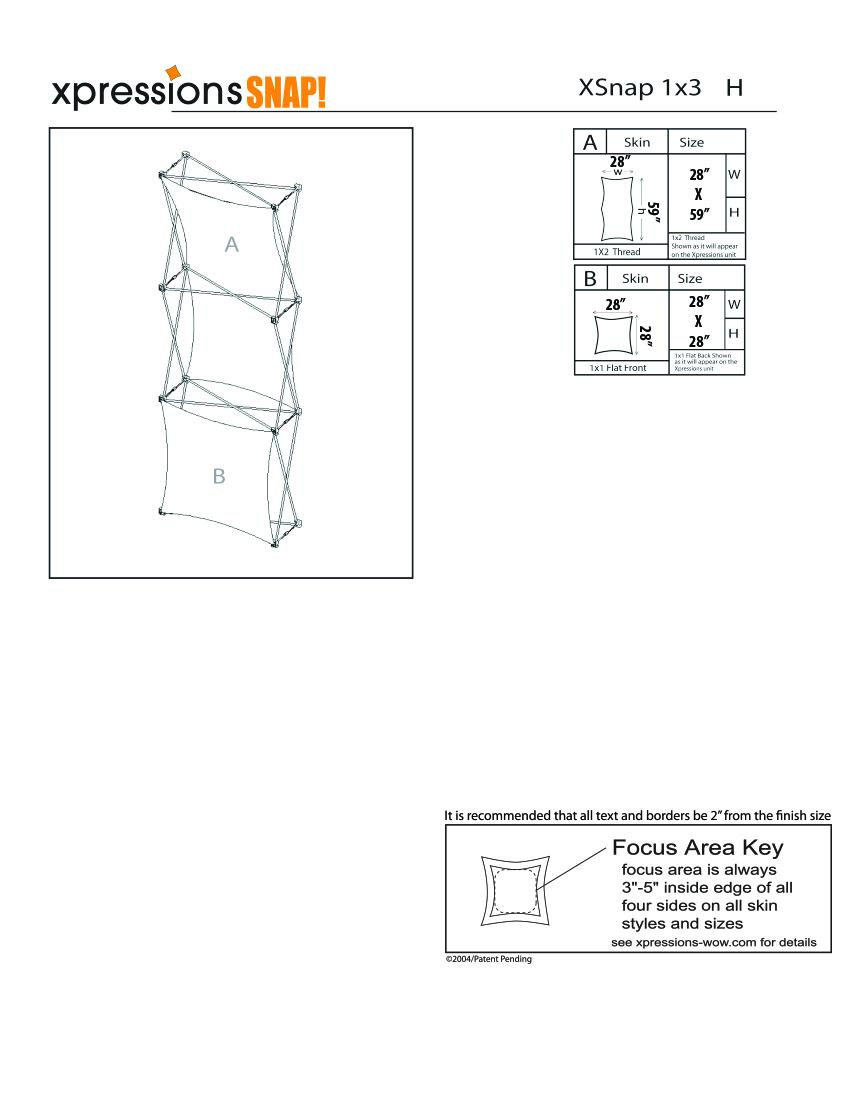 1x3 tower XSnap pop-up display kit h style sheet