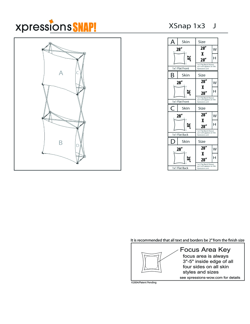 1x3 tower XSnap pop-up display kit j style sheet