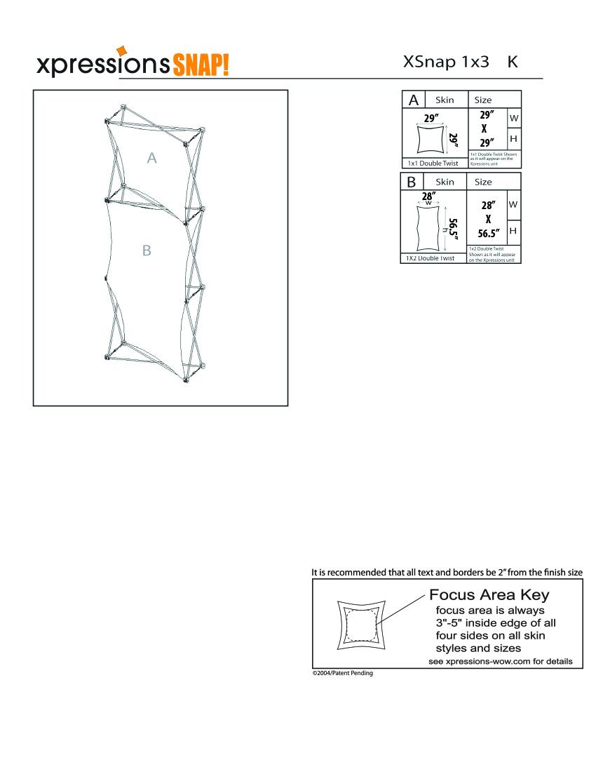 1x3 tower XSnap pop-up display kit k style sheet