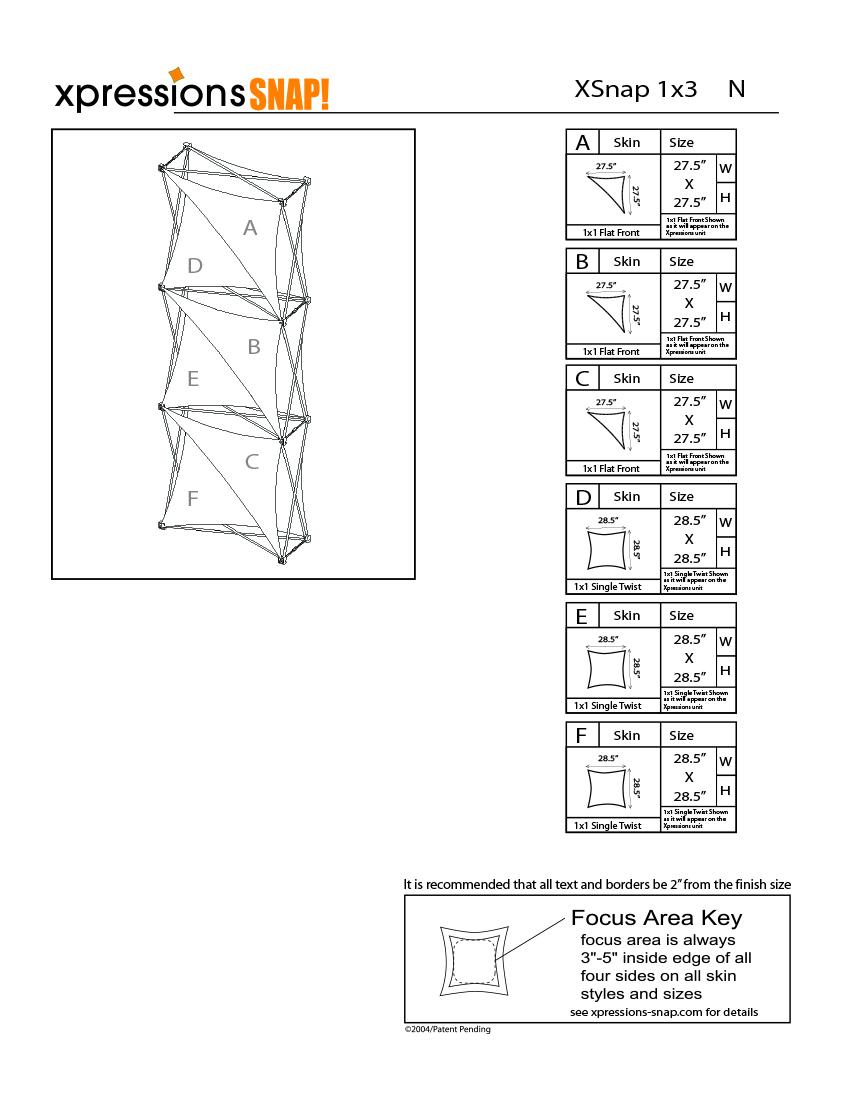 1x3 tower XSnap pop-up display kit n style sheet