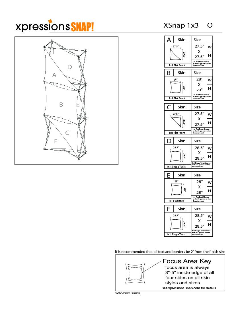 1x3 tower XSnap pop-up display kit o style sheet