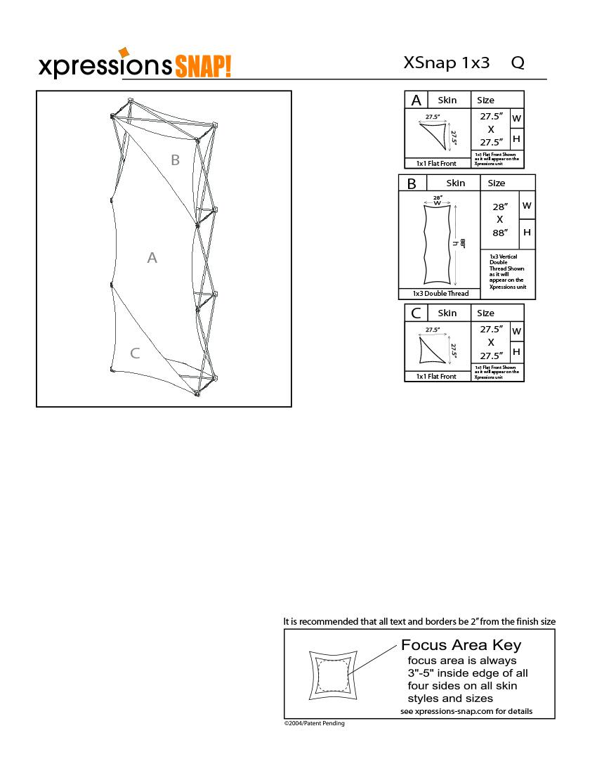 1x3 tower XSnap pop-up display kit q style sheet