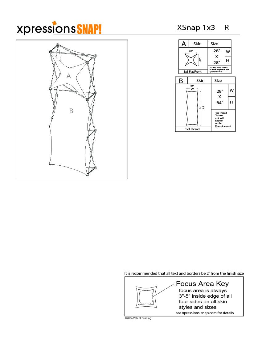 1x3 tower XSnap pop-up display kit r style sheet