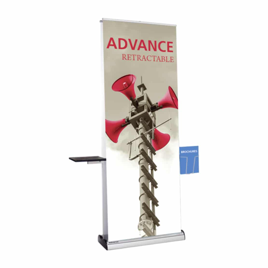 bannerstand full accessory kit with shelf and rack on advance display