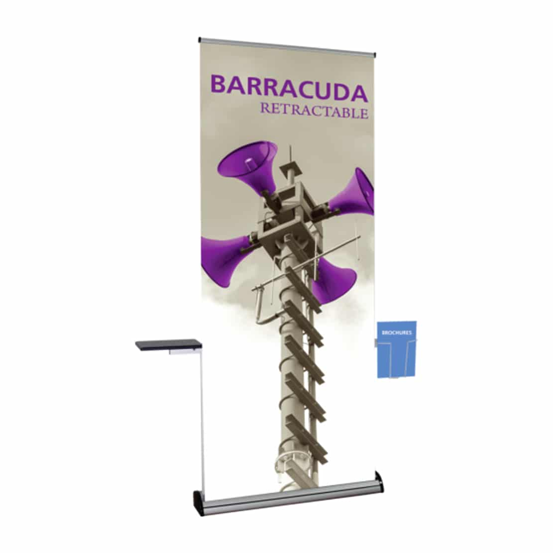 bannerstand full accessory kit with shelf and rack on barracuda display