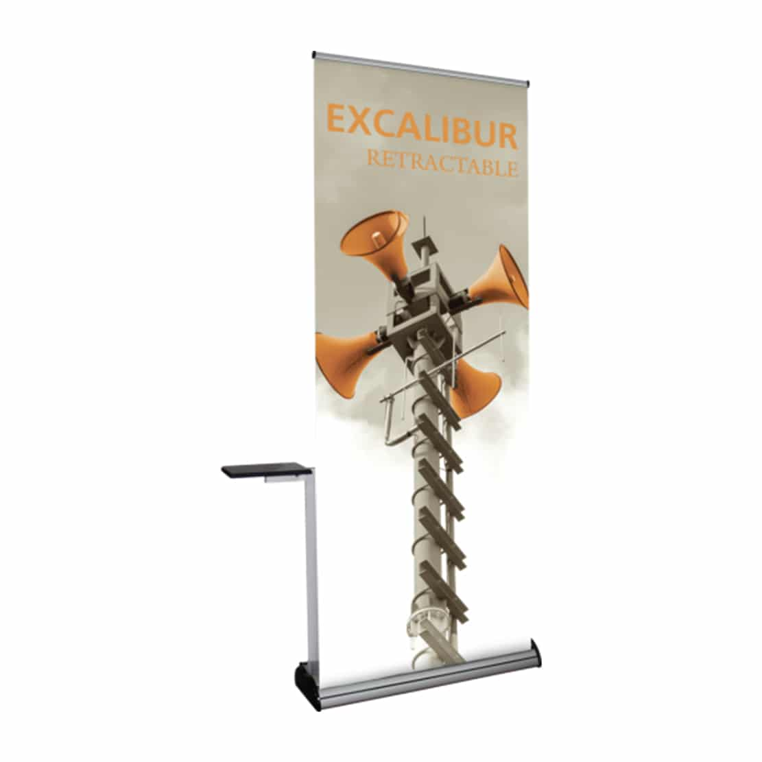 accessory kit shelf attached to banner stand display left side