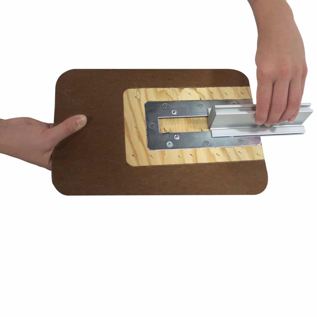 Setup step 5 image showing hardware sliding into place