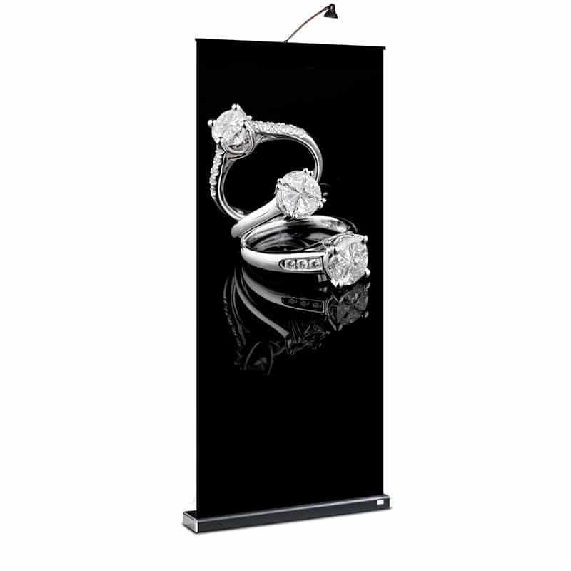 m2 banner stand with black hardware, front view