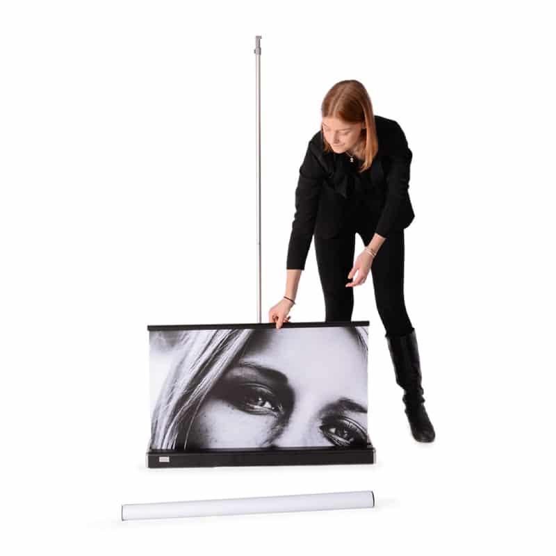 model showing m2 banner stand display setup