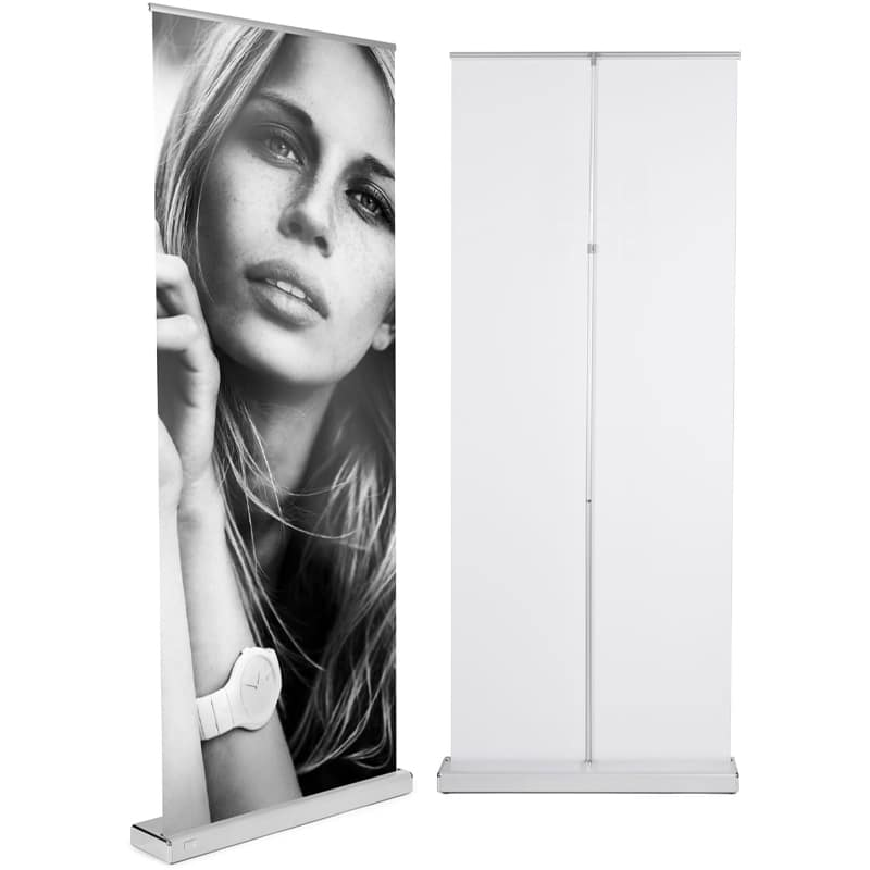 m2 banner stand display front and back with silver hardware
