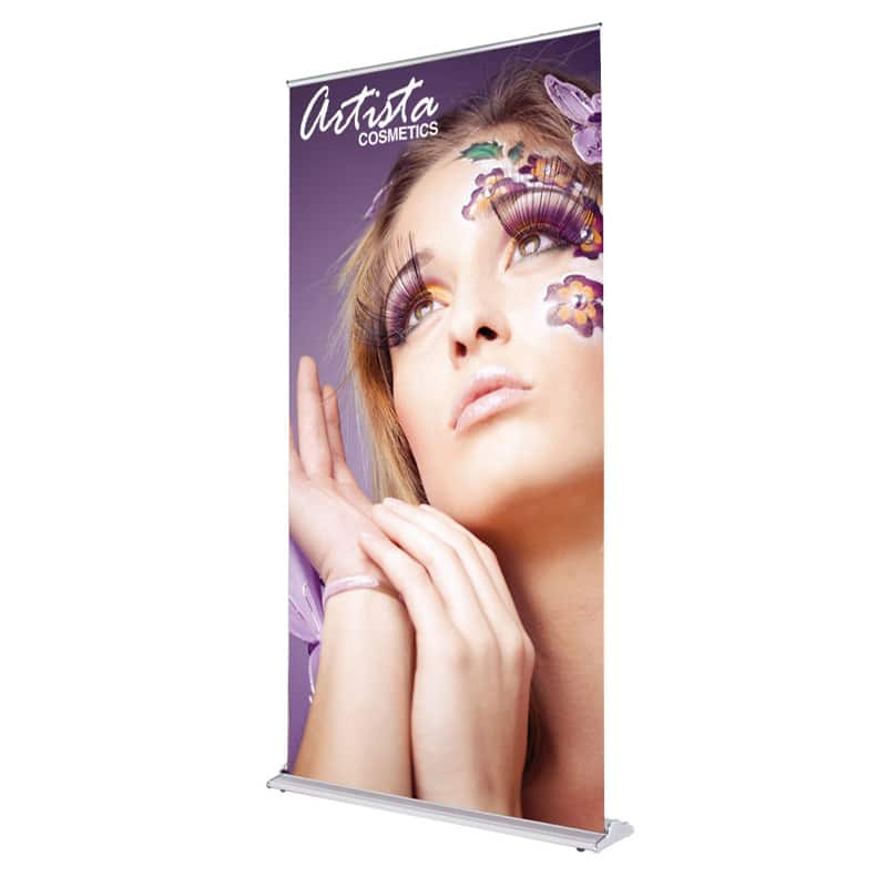 48 inch silver step banner stand display front-right image