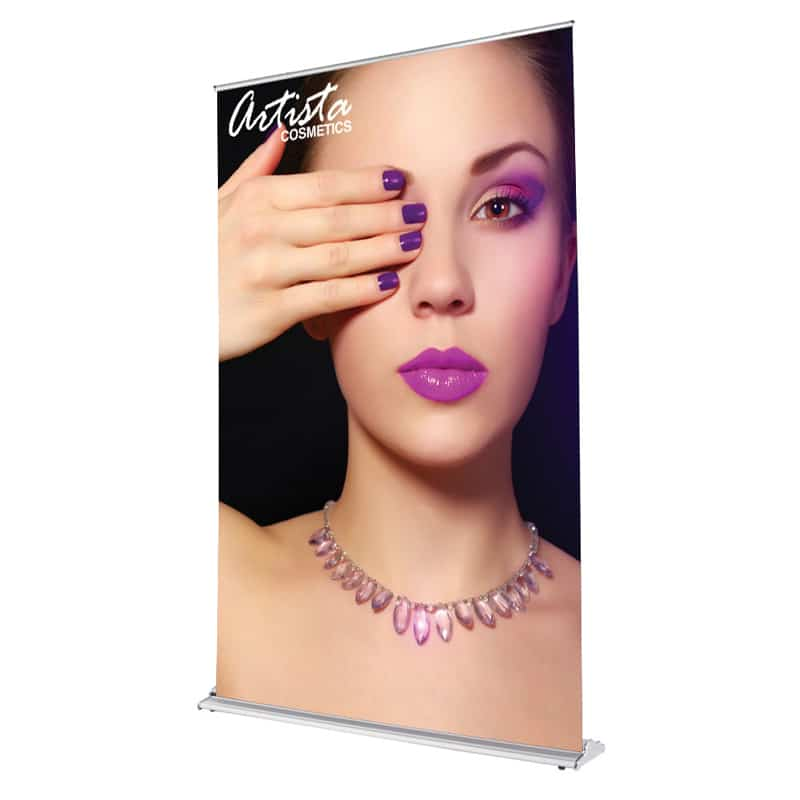 60 inch silver step banner stand display front-right image