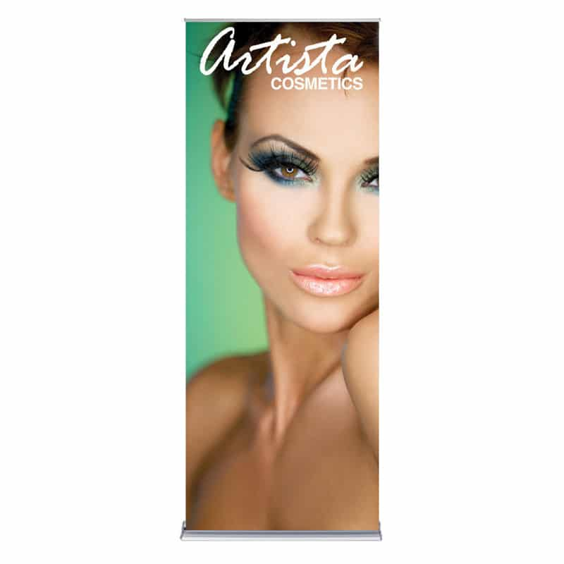 36 inch silver step banner stand display front image