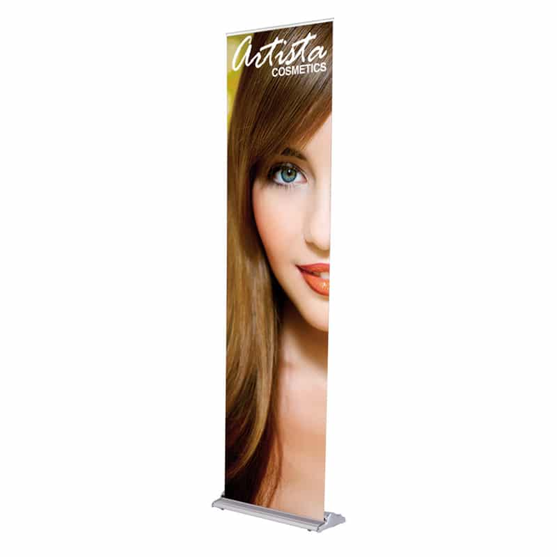 24 inch silver step banner stand display front-right image
