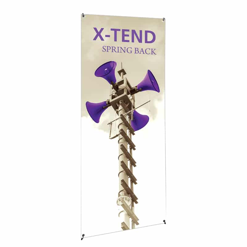 Spring Banner Stand with hardware, graphic and carry bag, front view