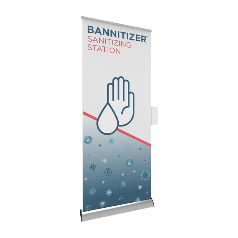 sanitizer dispenser hardware for banner stand display, left view
