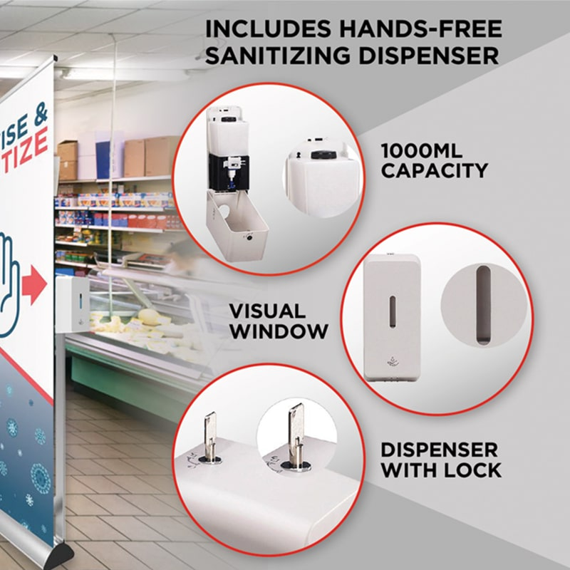 "banner stand sanitizer dispenser features "" capacity, dispenser window and lock"""