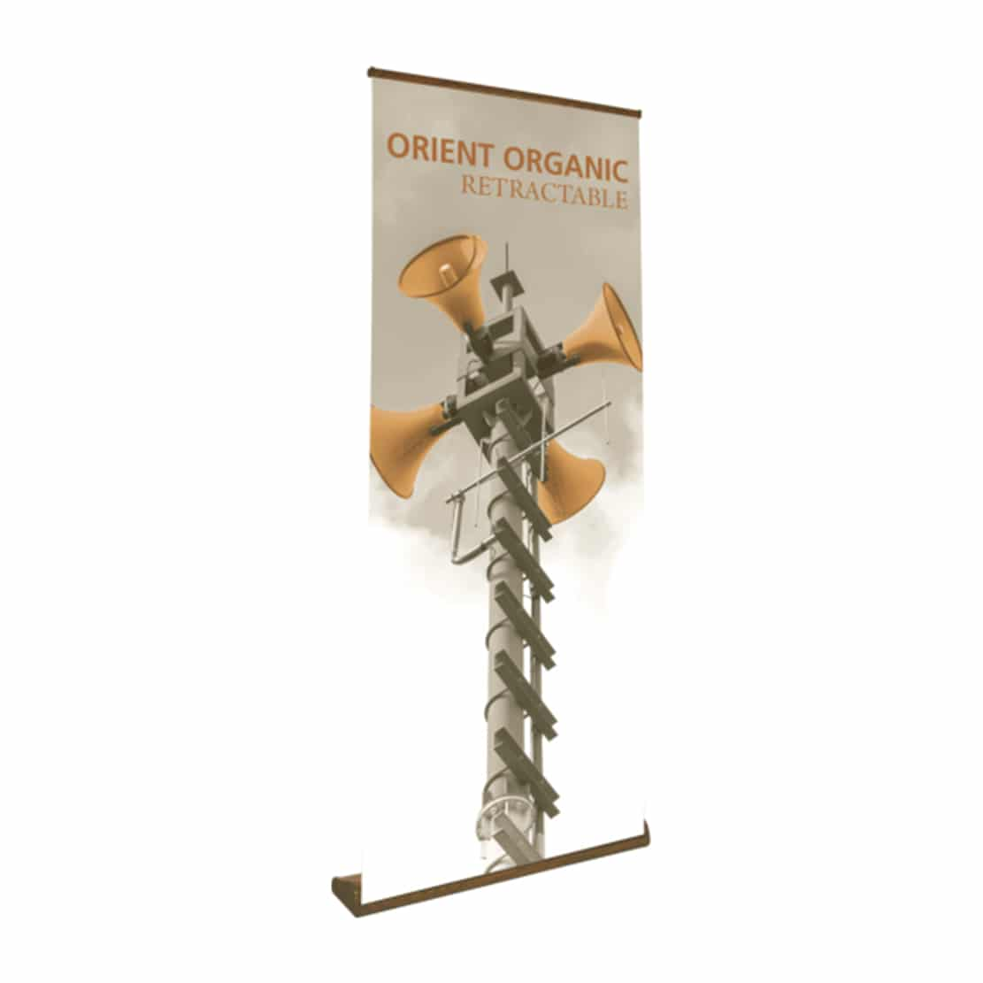 organic high quality wood grain banner stand display front view with printed graphic