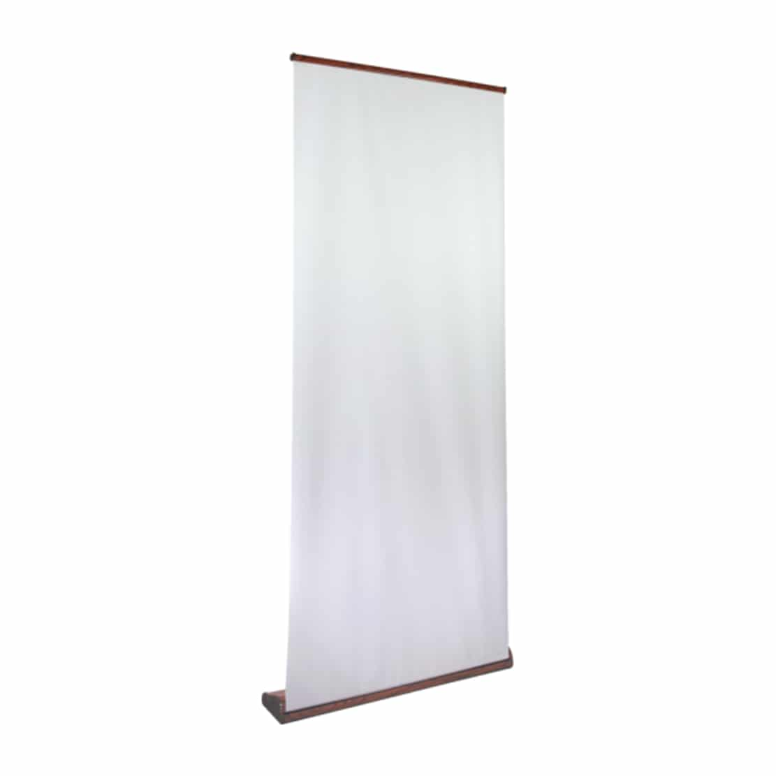 organic high quality wood grain banner stand display front view with unprinted graphic