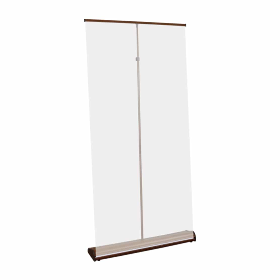 organic high quality wood grain banner stand display showing pole and top bar