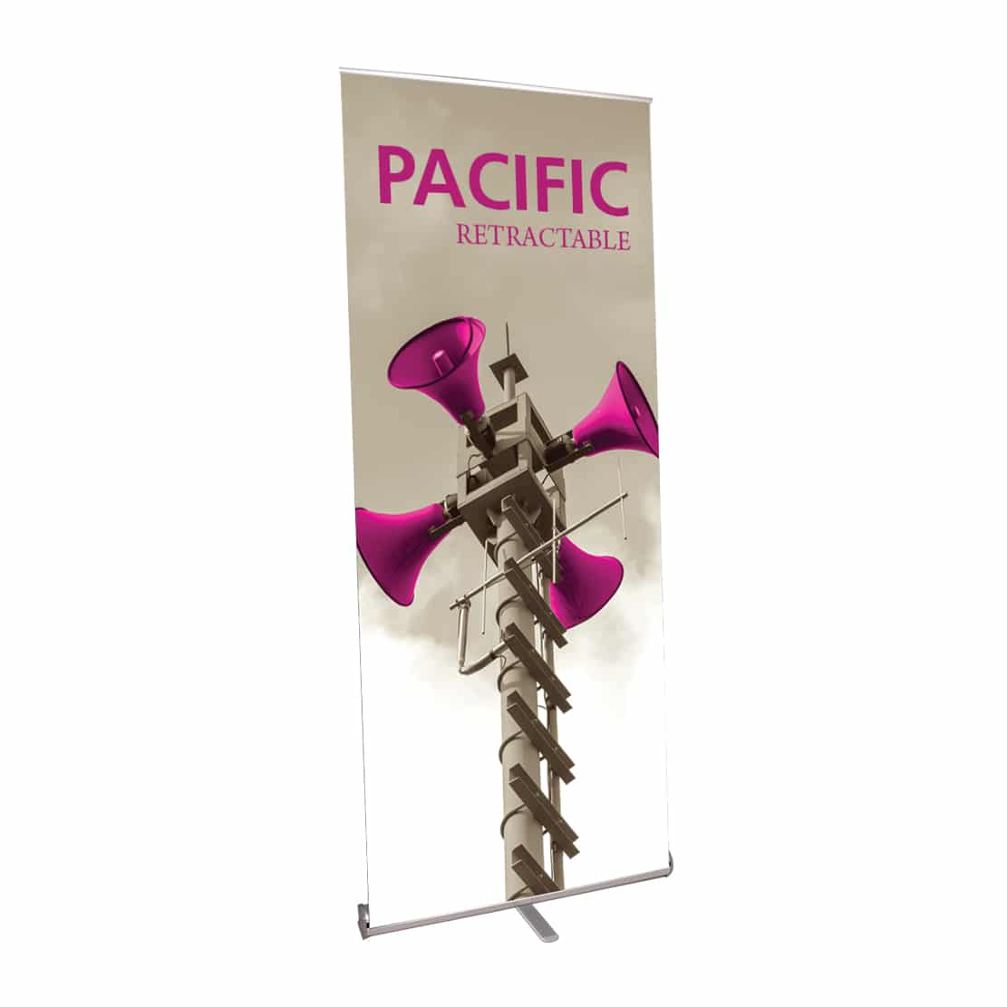 pacific low-price fabric banner stand front-left view with graphic