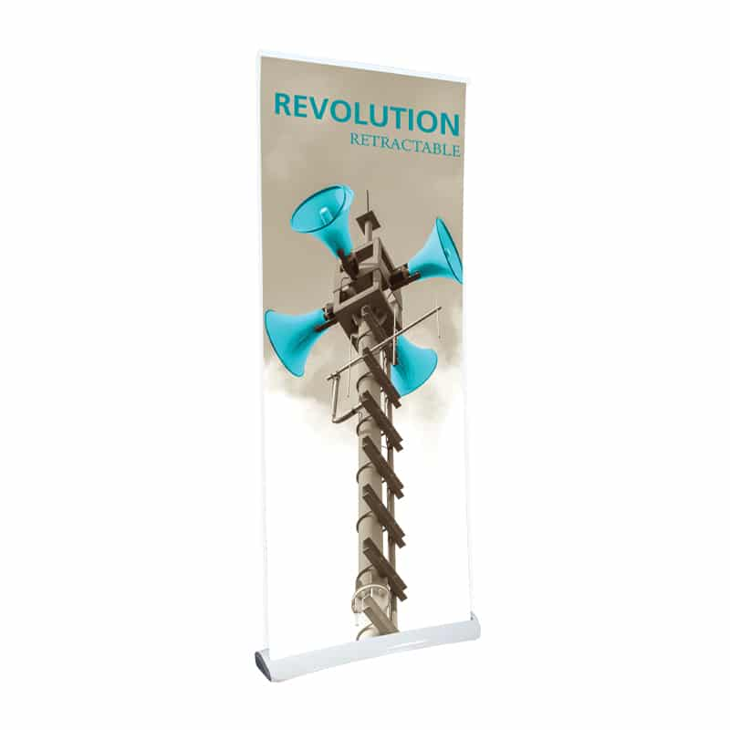 revolution modern banner stand with white base hardware, front left view